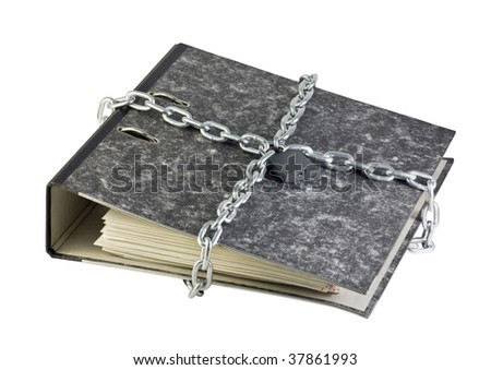 folder with documents bandaged chain with a lock