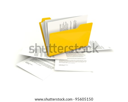 Folder with files isolated on white - stock photo