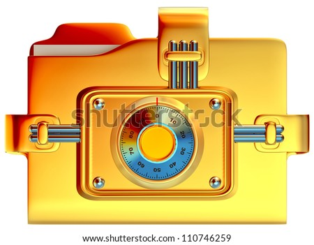 folder with golden combination lock stores confidential information - stock photo