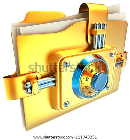 folder with golden combination lock stores important information - stock photo