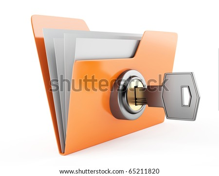 folder with key - stock photo