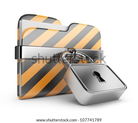 Folder with lock. Data security. 3D Icon isolated on white - stock photo