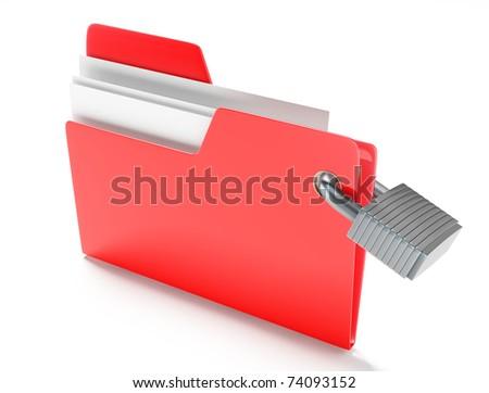 Folder with padlock - stock photo