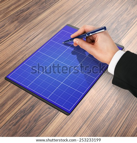folder with paper and pen, business concept. High resolution.
