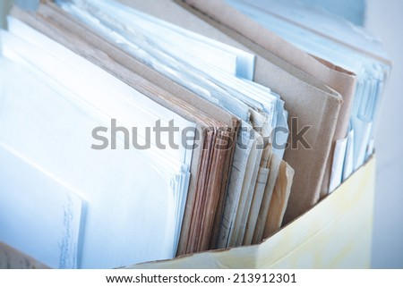 Folder with paper documents closeup - stock photo