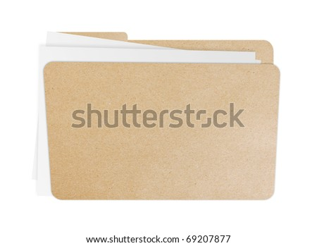 Folder with papers inside, Isolate on white background - stock photo