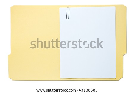 Folder with Paperwork Isolated on White - stock photo