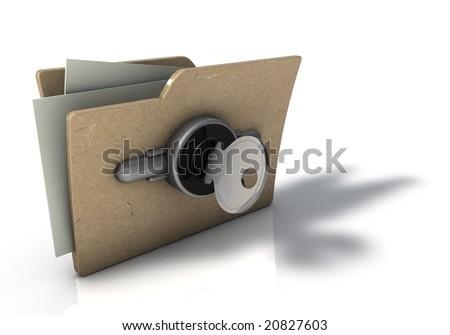 Folder With Security Key - stock photo