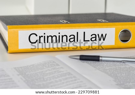 Folder with the label Criminal Law - stock photo