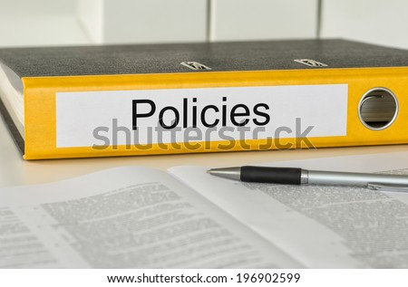 Folder with the label Policies - stock photo