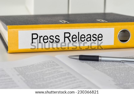 Folder with the label Press Release - stock photo