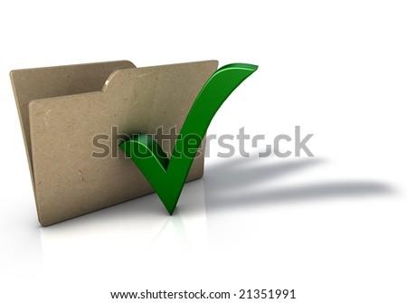 Folder with Tick Icon - stock photo