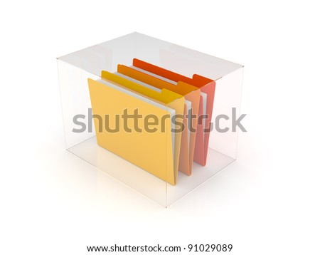 folders and files inside glass box