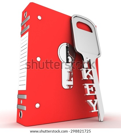 Folders and KEY - stock photo