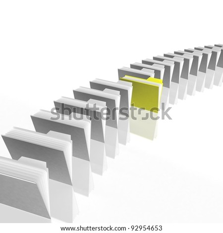 folders are in a series on the white glossy floor - stock photo