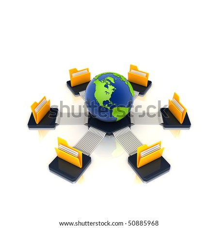 folders connected to a globe