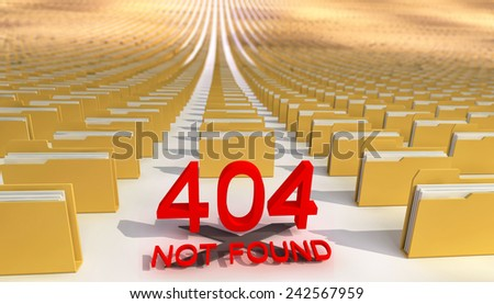 Folders (files) and error 404. - stock photo