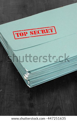 Folders files top secret / Folder with top secret stamped on it