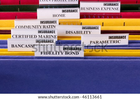 Folders for documents at office of the insurance company. - stock photo