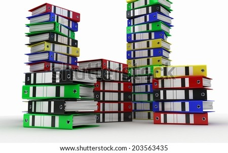 Folders for documents in a large number - stock photo