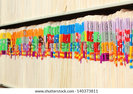 Folders in a row - stock photo