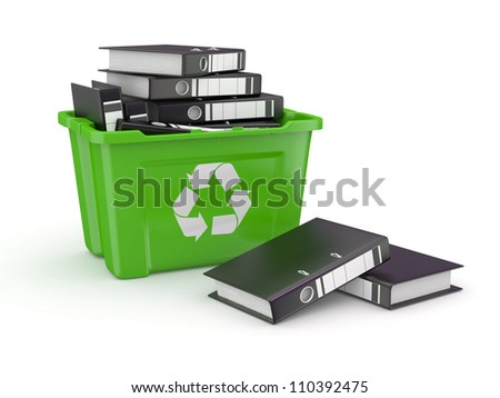 Folders in recycle bin on white background. 3d - stock photo