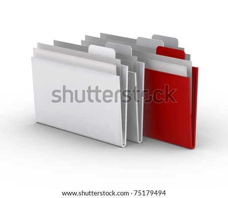 folders on the white background. 3d concept - stock photo