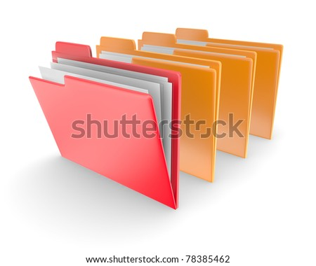Folders on white background - stock photo
