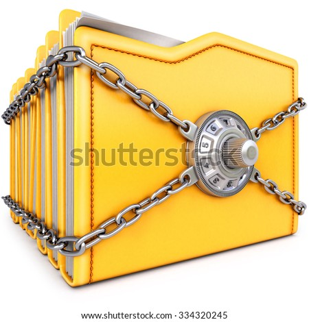 folders with chain and combination lock. isolated on white background. - stock photo