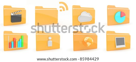 Folders with content icon on wite background - stock photo