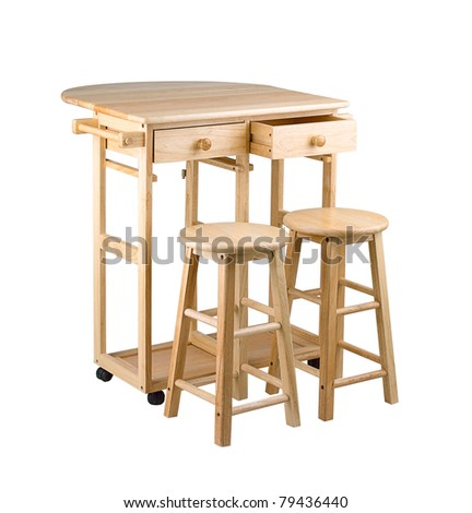 Folding and movable wooden table with drawers for little kitchen area