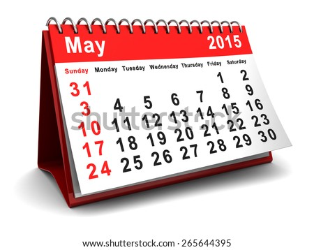 folding calendar with may 2015 page - stock photo