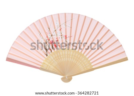 Folding fan isolated on a white background - stock photo
