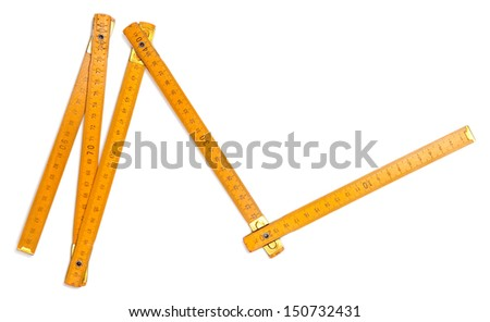 Folding ruler isolated on white - stock photo