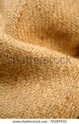 Folds in burlap hessian sacking - stock photo