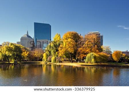 Foliage at Boston Common - stock photo