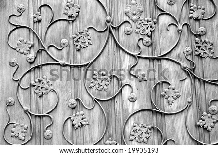 Foliage, floral background pattern black white - stock photo