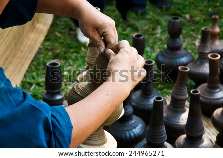 Folk Crafts of molding pottery, Thailand. - stock photo
