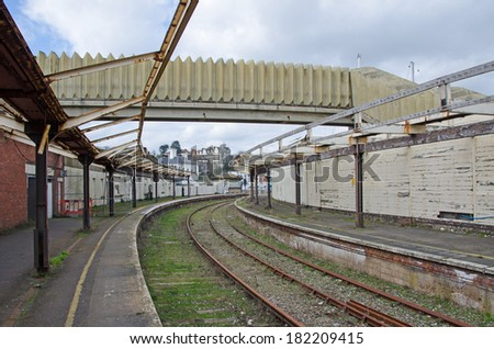FOLKESTONE, KENT, UK - MAR 17, 2014: The derelict Folkestone Harbour Station.  There are regeneration plans for the line, liking it with its role in both World Wars.