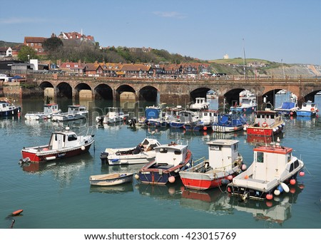 FOLKESTONE, UK - MAY 8, 2016. The harbour at Folkestone, a town on the south English coast in the county of Kent, UK. - stock photo