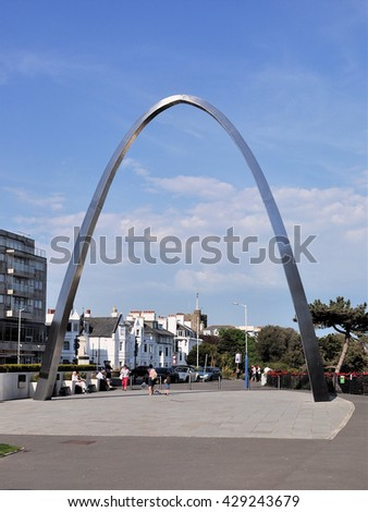 FOLKSTONE, UK - MAY 8, 2016. The Centenary Arch commemorates the millions of men and women who passed through the coastal town serving their country during the first world war at Folkstone, Kent, UK. - stock photo
