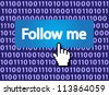 Follow Me Button with Hand Cursor. Vector version also available in my portfolio. - stock photo