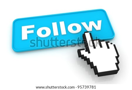 Follow Me Button with Hand Shaped Cursor - stock photo