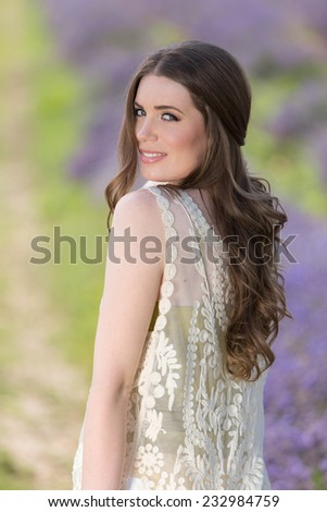 Follow me in lavender field - stock photo