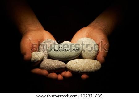 follow me rocks - stock photo
