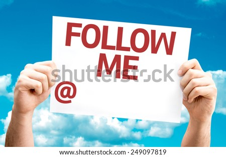 Follow Me with a copy space to put your profile card with sky background - stock photo