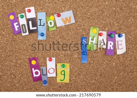 Follow - Share - Blog - stock photo
