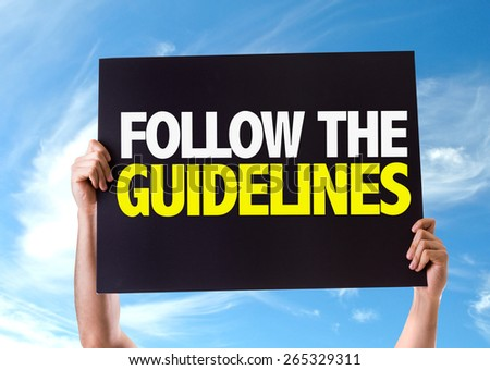 Follow the Guidelines card with sky background - stock photo