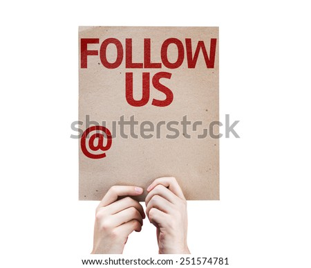 Follow Us and a Copy Space to Put Your Profile card isolated on white background - stock photo