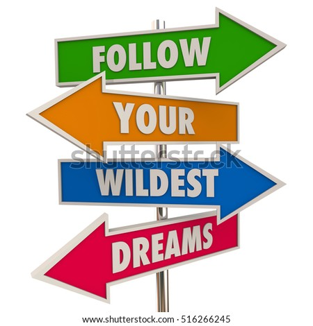 Follow Your Wildest Dreams Hopes Desires Signs 3d Illustration